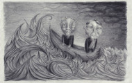 pencil drawing of ocean and boat